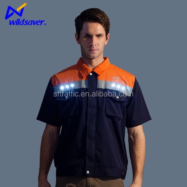 LED reflective 100 cotton work clothing/uniform for workers/cleaning staff uniform
