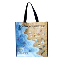 waterproof with beautiful images printed non woven beach tote bag