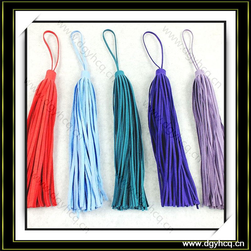 Yuhua brand 0.7mm thick colorful real suede leather tassel fringe rim for handbag shoes