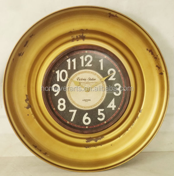 Antique gold metal wall clock in tray design