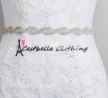 2016 Popular Sale Unique Elegant Design Crystal Rhinestone Applique Banding Pearl Bead Lace Trimming Bridal Wedding Dress Belt