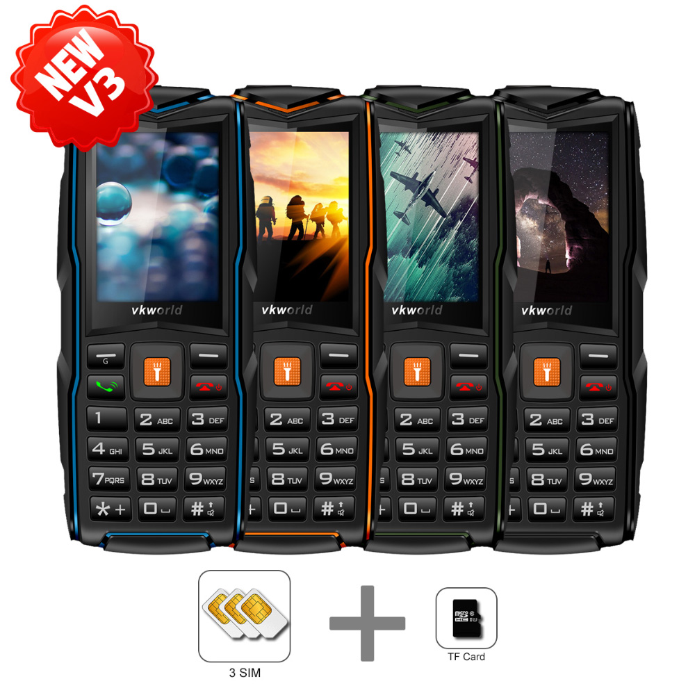 Waterproof Mobile Feature Phone VKWORLD New Stone V3 2.4 inch 3*sim Cards IP68 Waterproof Rugged Cell phone
