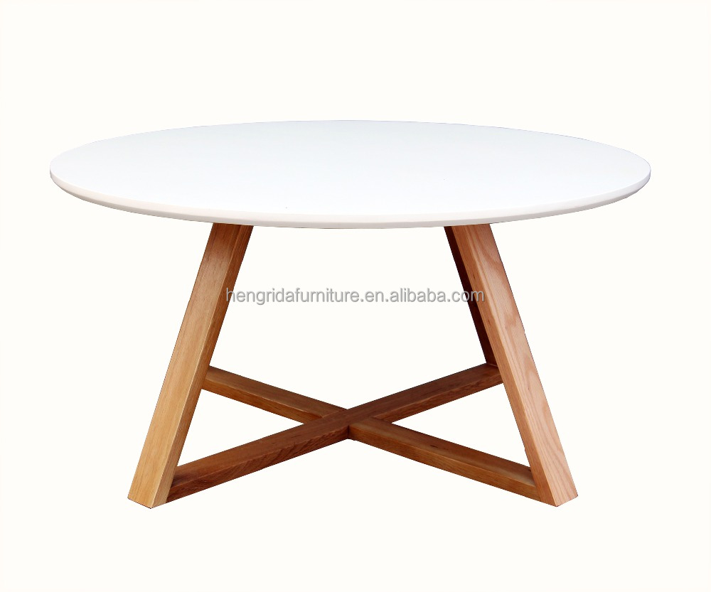 scandinavian round solid oak wood small white end table with white MDF top