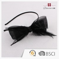 Unique handicraft hallowmas Dor net knot bow flapper feather headband with araneid