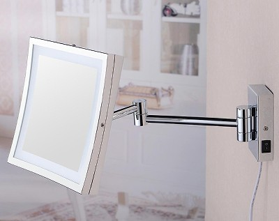 Luxury Antique Brass Plated Bathroom Shaving Wall Mirror with LED Light