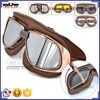 BJ-GT-010 Aftermarket Custom Coffee Leather Transparent Goggles Motocross Motorcycle Glasses