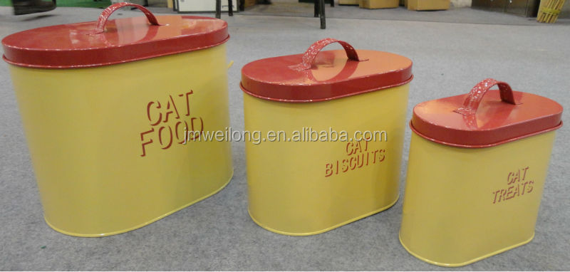 Set of 3 Metal Dog/Cat/Bird Feed Tin Storage Bin Container