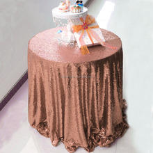 132 inch Rose Gold Round Wholesale Sequin Tablecloth