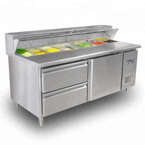 commercial counter pizza prep table refrigerator