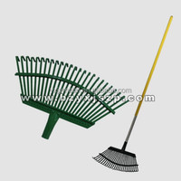 steel 25 tines leaf rake with soft aluminum handle garden rake