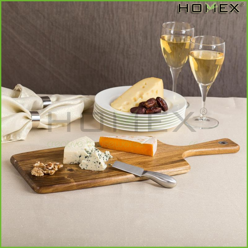 Acacia Wood Cheese Cutting Board With Handle Homex_BSCI Factory