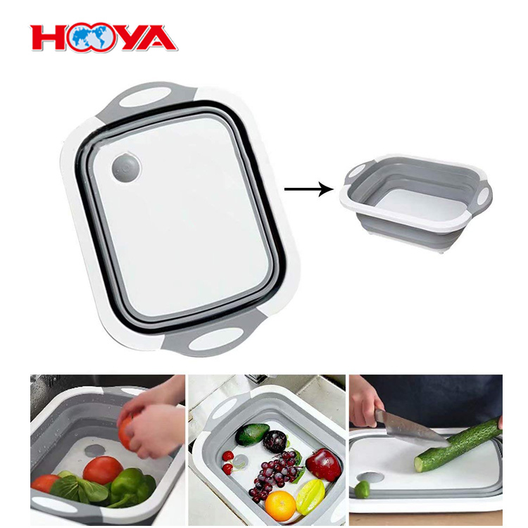 Multifunctional Plastic 3 in 1 Sink Folding Cutting Board Drain Basket Vegetable Basin Chopping Blocks