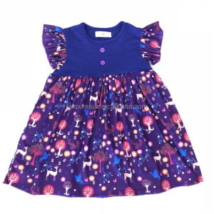 Deer printed cute design baby girl's flutter sleeve dress