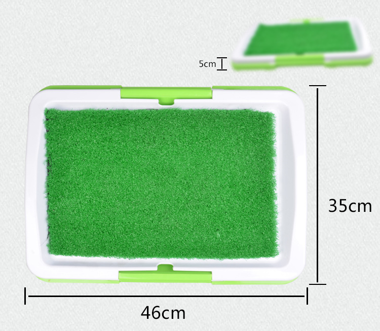 Easy wash indoor pet potty porch dog toilet tray with grass mat