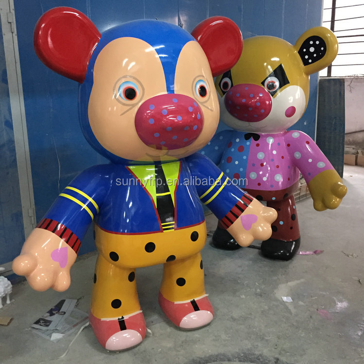 FRP bear cartoon figurine for shopping mall
