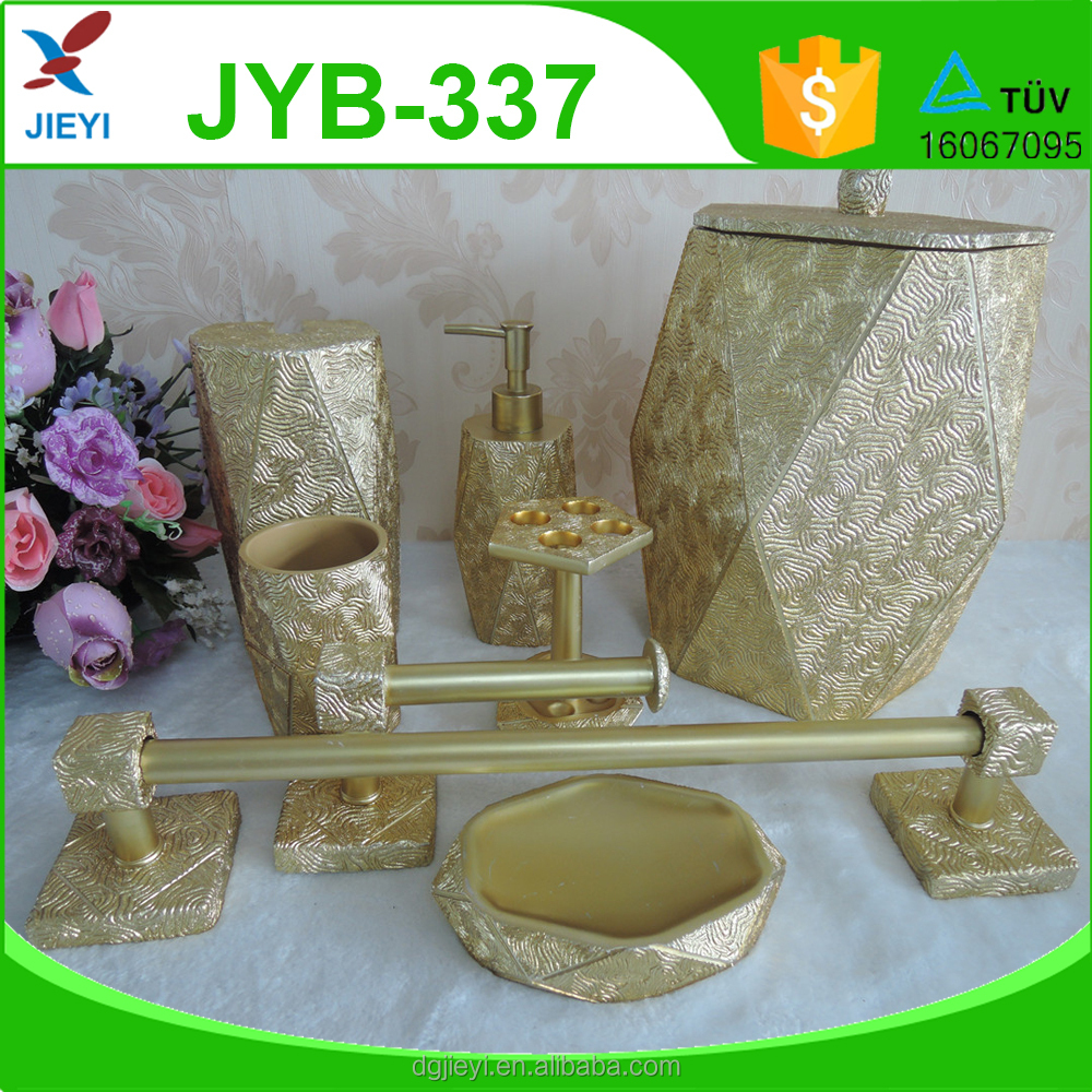 Shining gold popular home decor bathroom accessories sets for hotel decortation