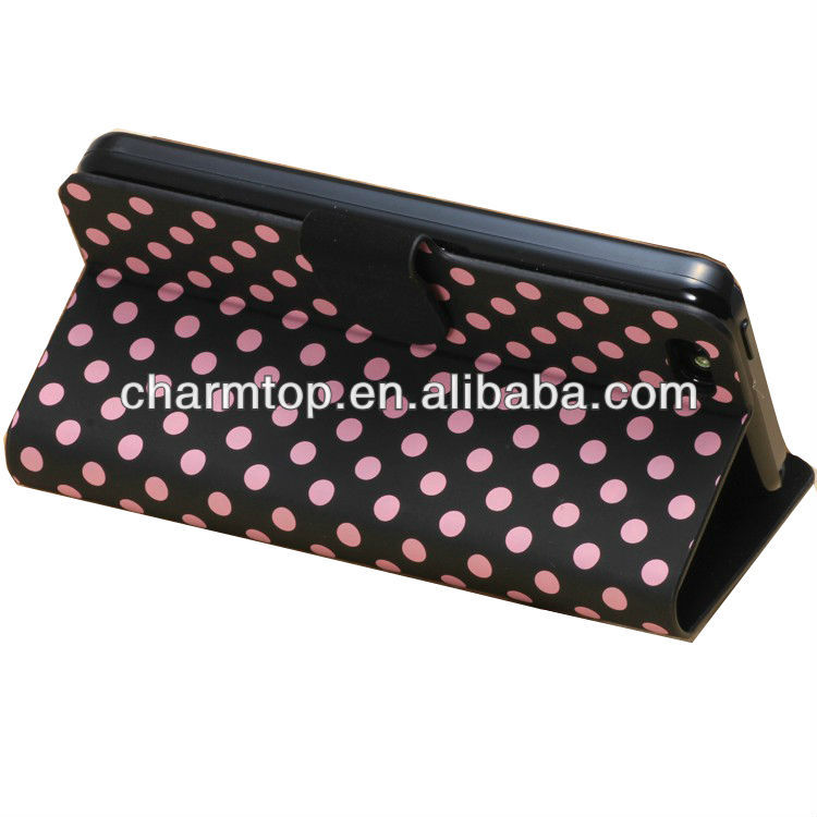 Hot Selling Polka Dot Leather Wallet Case For iPhone 5C