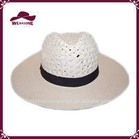 Ladies panama straw hat, fashion straw hat with band