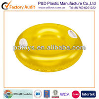 Yellow Round Inflatable Snow sledge with 2 handles
