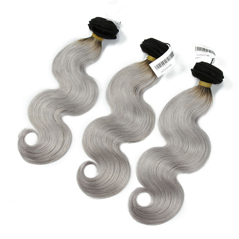 XBL 7A grade virgin exotic hair body wave ombre hair color 1b platinum grey