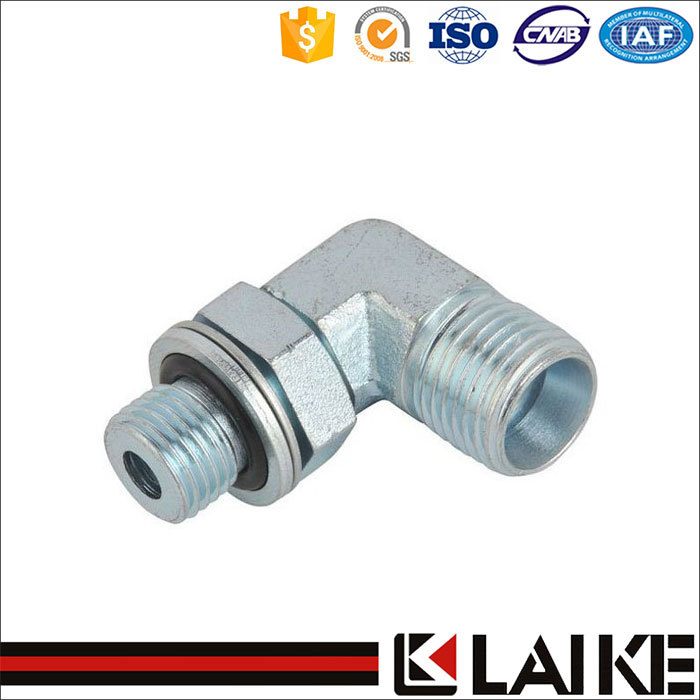 CARBON STEEL 90 ELBOW NPT MALE/NPSM FEMALE 60 CONE HYDRAULIC HOSE FITTING