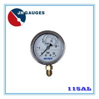 Glycerine or silicone oil filled pressure gauge