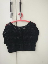 Black Crochet Flower Handmade Sleeveless Woman Sweater