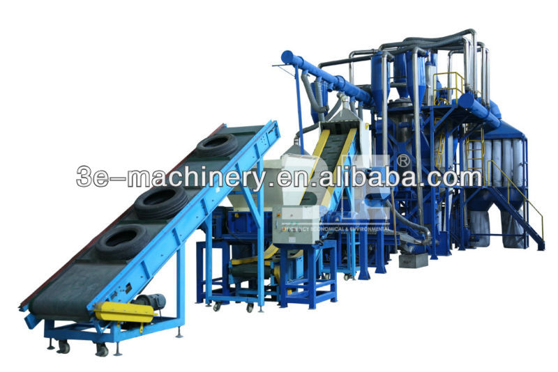 High Efficient of 3E's Rubber shredder machine/Tire recycling equipment/ Tire/tyre recycling machine, get CE Marking