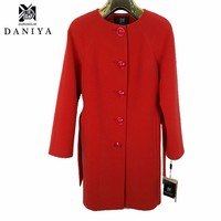 YMYD-6763 High Quality Women's Long Wool Winter Coats Ladies Red Gray Jacket Women Overcoat Female Overcoats
