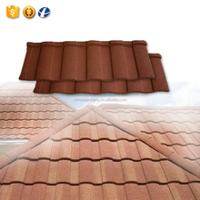 Wholesale No Fading Oriental Red Roman Stone Coated Metal Roofing Tile