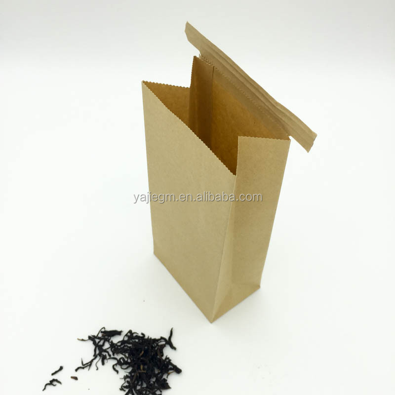 Horizontal tin tie SOS brown kraft paper bag for tea or coffee