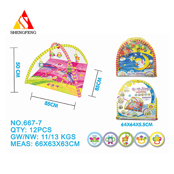 Good quaity baby toys 2017 gym mat toys with baby rattle toys