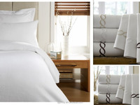 hotel product poly/cotton white bedspread fabric