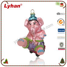 Lyhan pink dancing elephant glass and resin christmas tree decoration