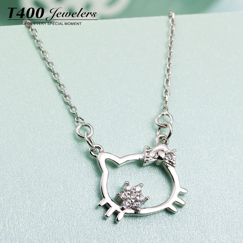 T400 fashion jewelry 925 sterling silver hello Kitty cat pendant necklace