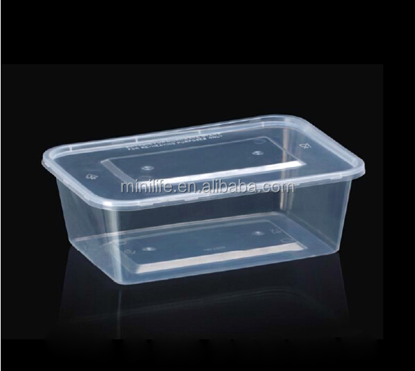Food Grade Clear Rectangular Plastic Container With Lid, Disposable Thermal Meal Prep Food Containers