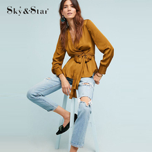 Blusas Femininas 2019 Women Shirt Chiffon blouse Tops Formal Office Blouse With Tie-Front girls Blouse