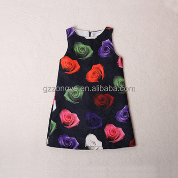 Baby wear rose flower fancy printing summer dress sleeveless little girls dress