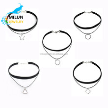 2017 New fashion womens multilayer velvet choker geometry triangle charms <strong>necklace</strong>