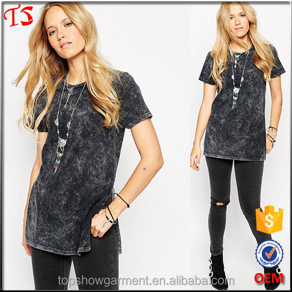 2016 Denim look side splits ladies tunic top wholesale woman vintage washed t shirts