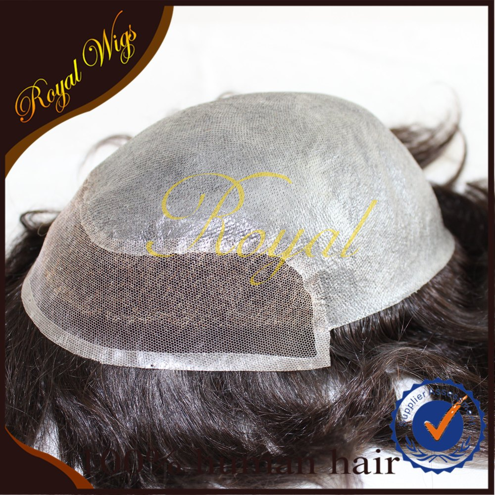 Best Quality 100% Human Hair Toupee PU With Lace, Men Hair Toupee