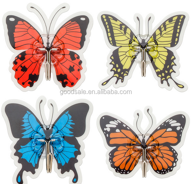 Butterfly design plastic wall hanger PVC strong self adhesive magic hook metal j hook for Kitchen Bathroom Hooks