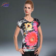 New arrival high quality floral pattern digital printing women sublimation t shirt