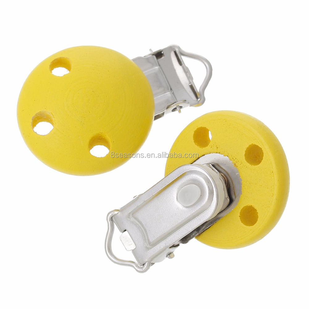 Wholesale Round Yellow Clips Wood Baby Pacifier Clip For DIY