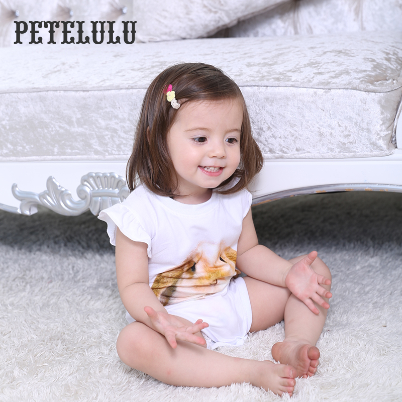 China Petelulu Short Sleeve Infant Baby One Piece Products Newborn Baby Bodysuit Lovely Girl Jumpsuit