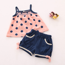 YF7529 summer 2016 baby dress+shorts two-piece girls sling suit