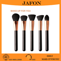 Rose gold vegan makeup brushes sets with unique wire drawing ferrule