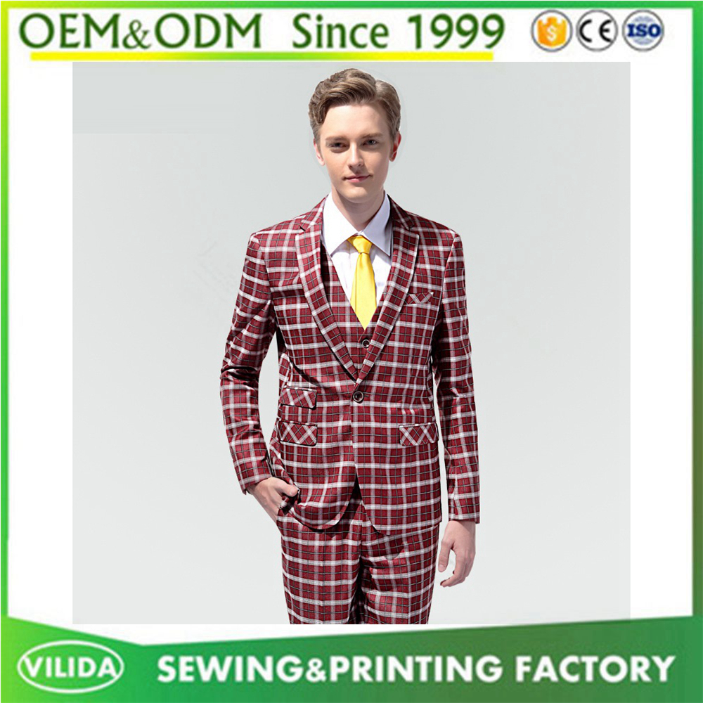New design men's 100%woolen dress plaid suit wine red color casual style suit