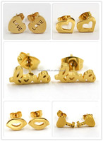 2016 custom Latest design gold lovely stick earrings for girls