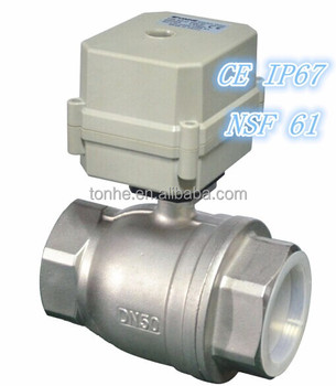 "Rosh DC12V/DC24V DN50 2"" stainless steel electric control motorized water ball valve"